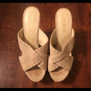 Guess Cream and Caramel Wedges Size 7.5